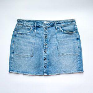 Good American Button-front Denim Mini Skirt